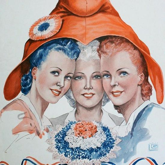 La Vie Parisienne 1939 Sous Un Meme Bonnet Georges Leonnec crop | Best of Vintage Cover Art 1900-1970