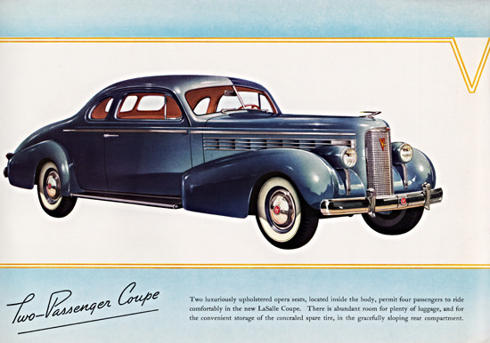 LaSalle Two Passenger Coupe 1938 Blue | Vintage Cars 1891-1970