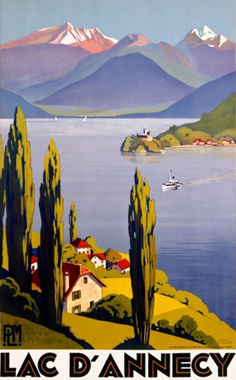 Lac Dannecy Lake Ship Mountains Roger Broders | Vintage Travel Posters 1891-1970