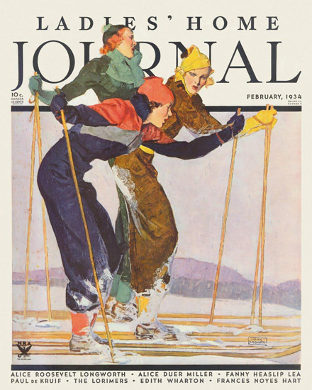 Ladies Home Journal Copyright 1934 Skiing Ladies | Vintage Ad and Cover Art 1891-1970