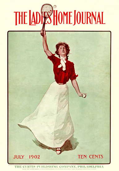 Ladies Home Journal Cover Copyright 1902 Tennis Lady | Vintage Ad and Cover Art 1891-1970