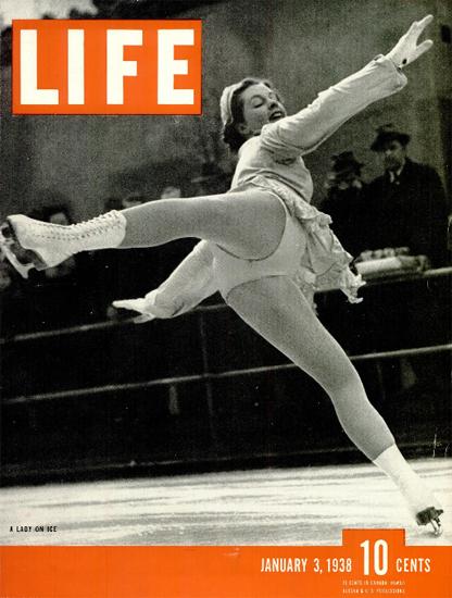 Lady on Ice 3 Jan 1938 Copyright Life Magazine | Life Magazine BW Photo Covers 1936-1970