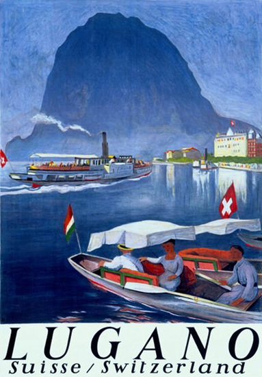 Lake Lugano Steamboat Suisse Switzerland | Vintage Travel Posters 1891-1970