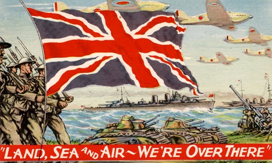 Land Sea And Air Were Over There | Vintage War Propaganda Posters 1891-1970