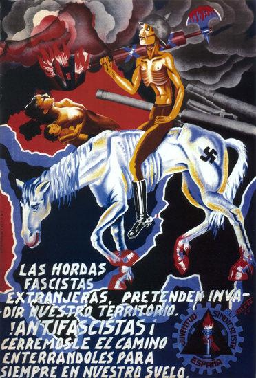 Las Hordas Fascistas Spain Espana | Vintage War Propaganda Posters 1891-1970