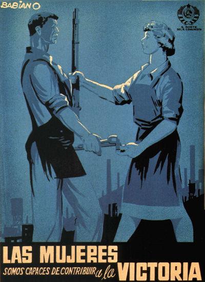 Las Mujeres Y La Victoria Spain Espana | Vintage War Propaganda Posters 1891-1970