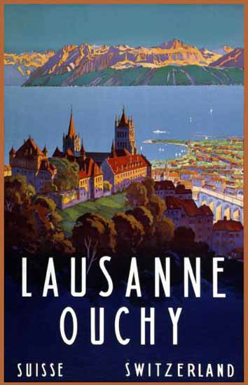 Lausanne Ouchy Suisse Lake Geneva Switzerland 1929 | Vintage Travel Posters 1891-1970