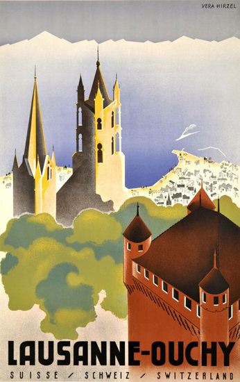 Lausanne Ouchy Suisse Switzerland 1930s | Vintage Travel Posters 1891-1970