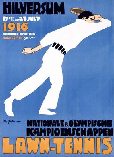 Lawn Tennis Hilversum 1916 Olympische   Vintage Ad and Cover Art 1891-1970
