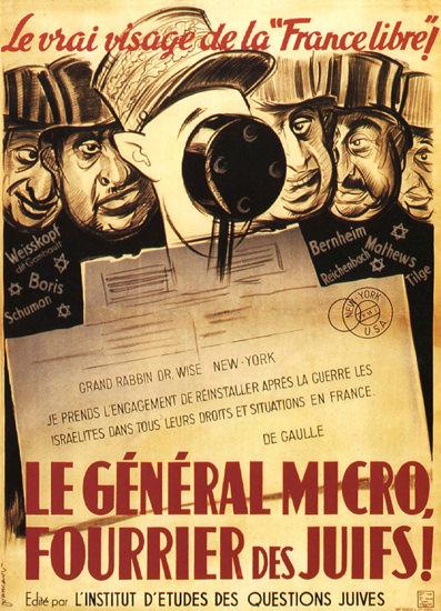 Le General Micro Fourrier Des Juifs Xenophobia   Vintage War Propaganda Posters 1891-1970