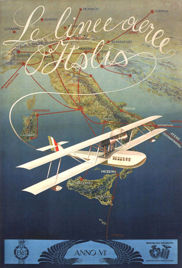 Le Linee Aeree Italia Italy Airplane | Vintage Travel Posters 1891-1970