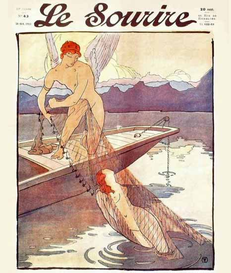 Le Sourire 1911 Life Guard Angel Henri Montassier | Sex Appeal Vintage Ads and Covers 1891-1970