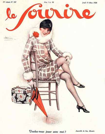 Le Sourire 1928 Voulez-Vous Jouer Avec Moi Suzanne Meunier | Sex Appeal Vintage Ads and Covers 1891-1970