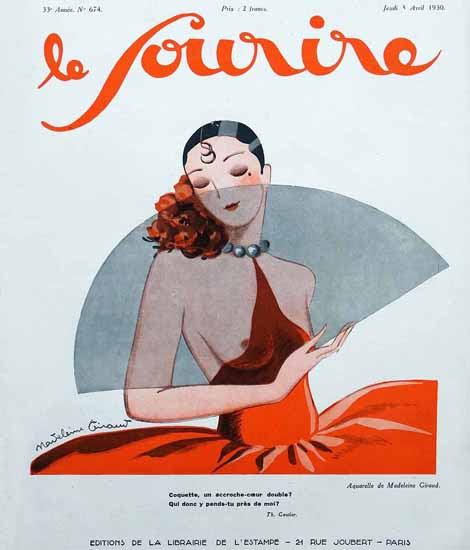 Le Sourire 1930 Coquette Madelaine Giraud | Sex Appeal Vintage Ads and Covers 1891-1970