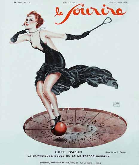 Le Sourire 1931 Cote D Azur Georges Leonnec | Sex Appeal Vintage Ads and Covers 1891-1970