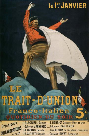 Le Trait D Union Franco-Italien France | Vintage War Propaganda Posters 1891-1970