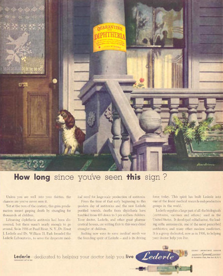 Lederle Diphtheria Sign 1952 | Vintage Ad and Cover Art 1891-1970