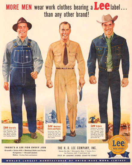 Lee Work Clothes Overalls Shirts Pants 1951 | Sex Appeal Vintage Ads and Covers 1891-1970