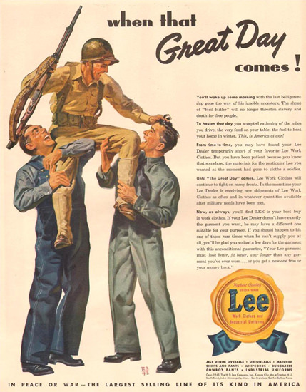 Lee Work Clothes When Great Day Comes 1943 | Vintage Ad and Cover Art 1891-1970