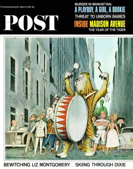 Lee deGroot Saturday Evening Post Advertising on Parade 1965_03_13 | The Saturday Evening Post Graphic Art Covers 1931-1969