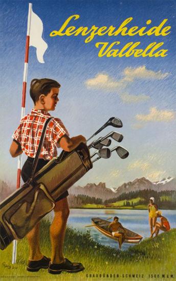 Lenzerheide Valbella Switzerland Golf 1950 | Vintage Travel Posters 1891-1970