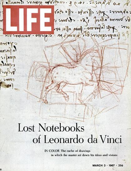 Leonardo Da Vinci Lost Notebooks 3 Mar 1967 Copyright Life Magazine | Life Magazine Color Photo Covers 1937-1970