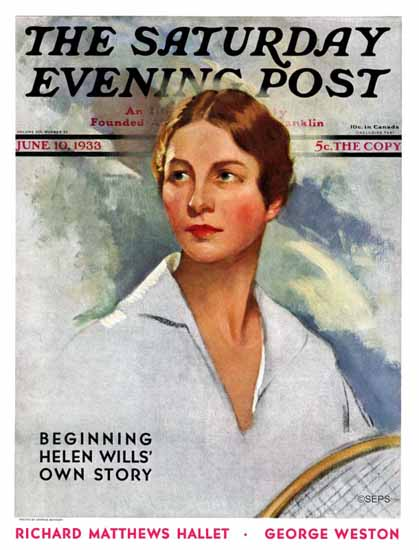 Leopold Seyffert Saturday Evening Post Helen Wills 1933_06_10 | The Saturday Evening Post Graphic Art Covers 1931-1969