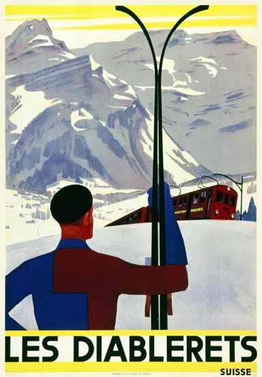Les Diablerets Suisse Skiing Switzerland1936 | Vintage Travel Posters 1891-1970