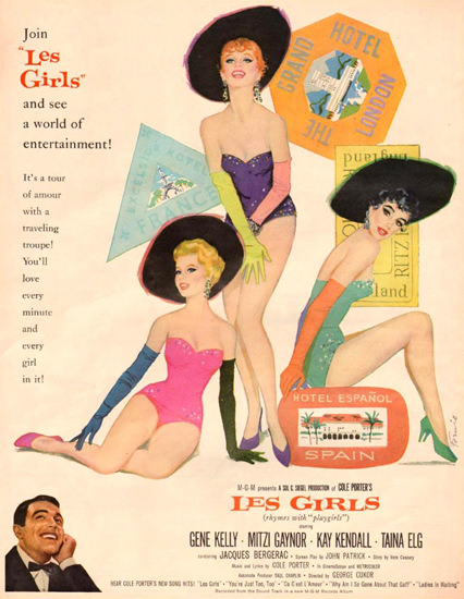 Les Girls Gene Kelly Mitzi Gaynor K Kendall 1957 | Sex Appeal Vintage Ads and Covers 1891-1970
