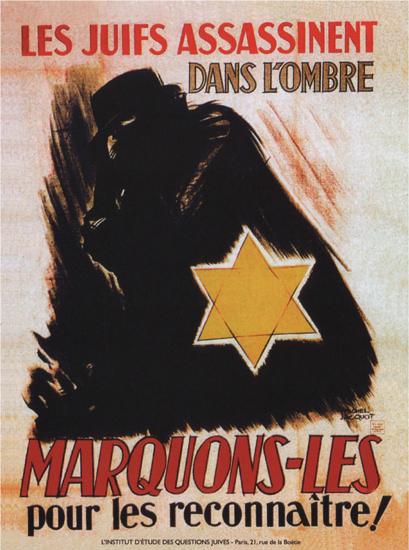Les Juifs Assassinent Dans L Ombre Marquons   Vintage War Propaganda Posters 1891-1970