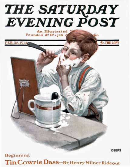 Leslie Thrasher Saturday Evening Post First Shave 1914_02_28 | The Saturday Evening Post Graphic Art Covers 1892-1930