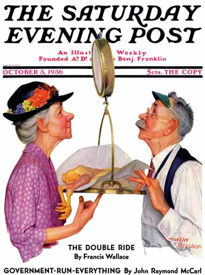 Leslie Thrasher Saturday Evening Post Tipping the Scales 1936_10_03 | The Saturday Evening Post Graphic Art Covers 1931-1969