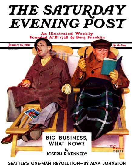 Leslie Thrasher Saturday Evening Post Two Men in Deck Chairs 1937_01_16 | The Saturday Evening Post Graphic Art Covers 1931-1969