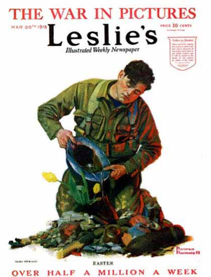 Leslies Illustrated Easter 1918 Norman Rockwell | 400 Norman Rockwell Magazine Covers 1913-1963