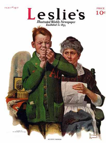 Leslies Illustrated Helping Mother 1917 Norman Rockwell | 400 Norman Rockwell Magazine Covers 1913-1963