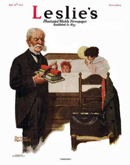 Leslies Illustrated Schoolitis 1916 Norman Rockwell | 400 Norman Rockwell Magazine Covers 1913-1963