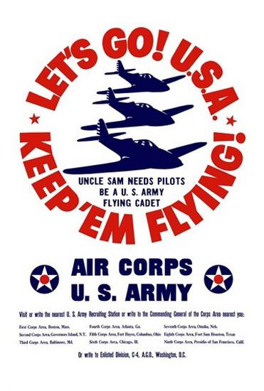 Lets Go USA Keep Em Flying Uncle Sam Pilotes   Vintage War Propaganda Posters 1891-1970