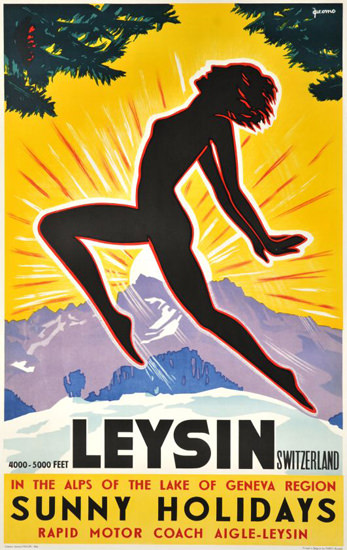 Leysin Sunny Holidays Switzerland 1948 | Sex Appeal Vintage Ads and Covers 1891-1970