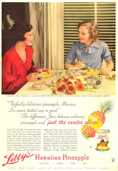Libbys Hawaiian Pineapple 1934   Vintage Ad and Cover Art 1891-1970