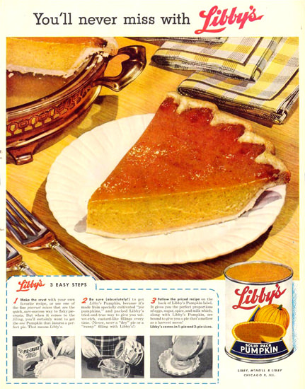 Libbys Pumpkin Pie 1955 | Vintage Ad and Cover Art 1891-1970