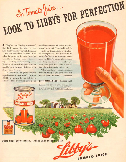 Libbys Tomato Juice Field Glass 1944 | Vintage Ad and Cover Art 1891-1970