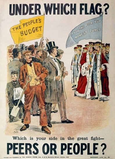 Liberal Party Peers Or People Which Flag 1910 | Vintage War Propaganda Posters 1891-1970