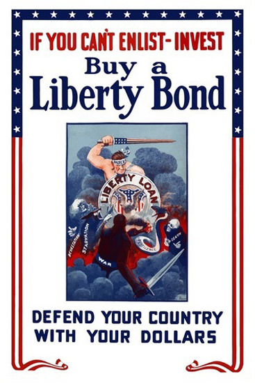 Liberty Loan Defend Your Country With Dollars | Vintage War Propaganda Posters 1891-1970