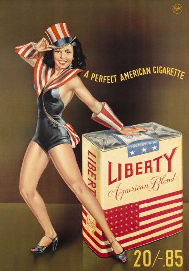 Liberty Pin-Up Girl American Cigarette 1947 | Sex Appeal Vintage Ads and Covers 1891-1970