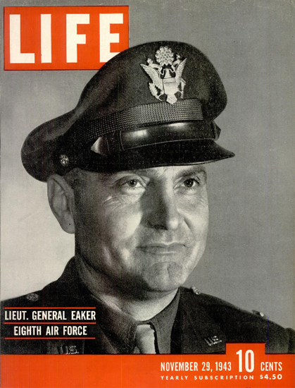 Lieut General Ira Clarence Eaker 29 Nov 1943 Copyright Life Magazine | Life Magazine BW Photo Covers 1936-1970