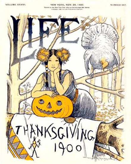 Life Magazine Copyright 1900 Thanksgiving Squaw | Sex Appeal Vintage Ads and Covers 1891-1970