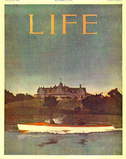 Life Magazine Copyright 1906 Boating On River At Night | Vintage Ad and Cover Art 1891-1970