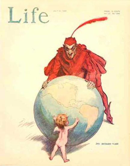 Life Magazine Copyright 1908 Good And Evil Fighting   Vintage Ad and Cover Art 1891-1970
