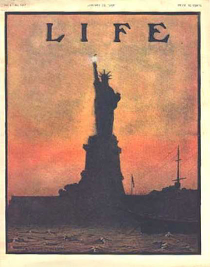 Life Magazine Copyright 1908 New York Liberty Statue | Vintage Ad and Cover Art 1891-1970