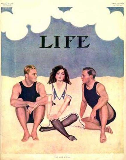 Life Magazine Copyright 1909 Admired Girl At The Beach | Sex Appeal Vintage Ads and Covers 1891-1970